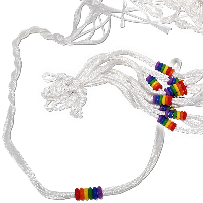White Woven Friendship with Rainbow Beads Bracelet