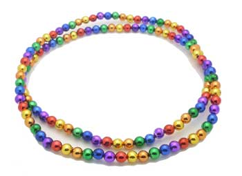 Rainbow Mardi Gras Beads Necklace