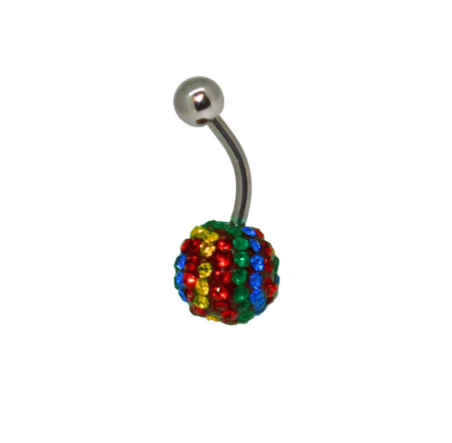 Rainbow Bling Navel Ring