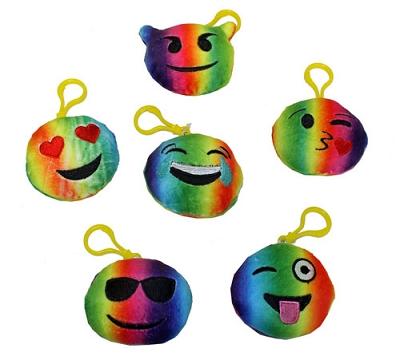 Rainbow Plush Emoji Key Chain