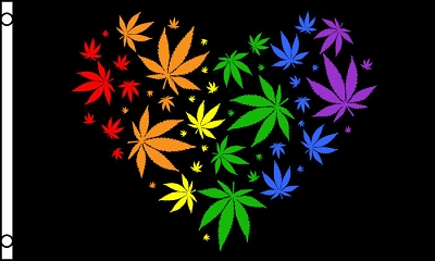 Rainbow Marijuana Heart Flag
