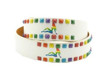 Rainbow Paint Splatter Studs Leather Belt