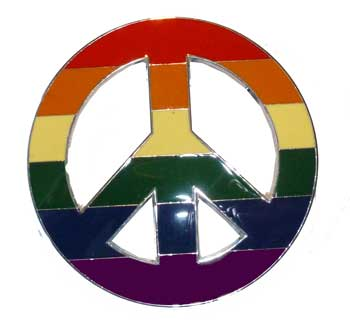 Rainbow Peace Sign Belt Buckle