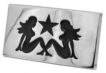 Polished Rectangle DOUBLE Mudflap Girl Belt Buckle