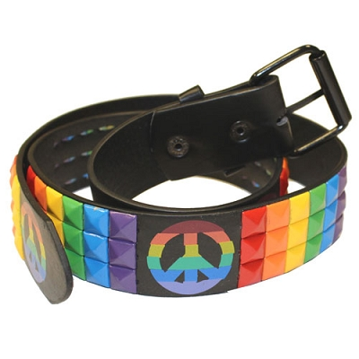 Rainbow Studs with Peace Sign Leather Belt