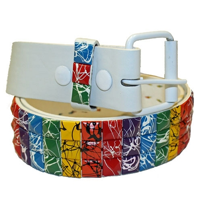 Rainbow Splattered Studs White Leather Belt