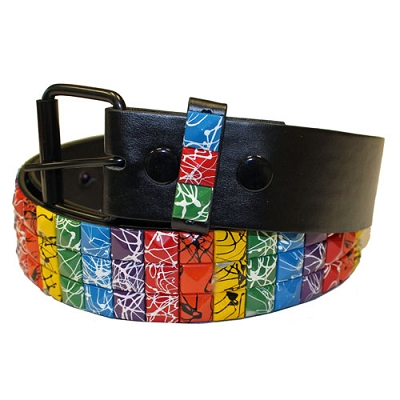 Rainbow Splattered Studs Black Leather Belt