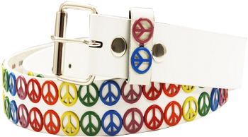 Rainbow Peace Sign White Belt