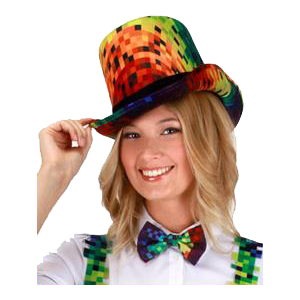 Rainbow Pixel Coachman Hat