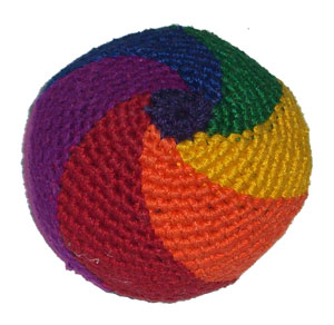 Rainbow Knit Hacky Sack