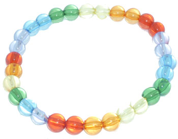 Rainbow Beads on stretchy cord bracelet