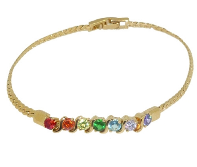 Rainbow Stone Gold Chain Bracelet