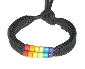 Rainbow Bead Leather Bracelet