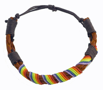 Rainbow String Brown Leather Bracelet
