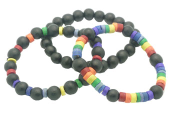 Rainbow/Black Wood Bead Bracelet (3 Bracelets Set)