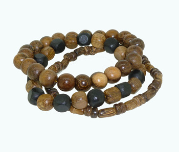 (3) Wood Black/Brown Bead Bracelet