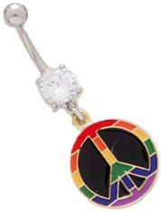 Rainbow Peace Dangle Belly Ring