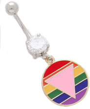Rainbow Pink Triangle Rainbow Dangle Belly Ring