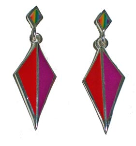 Double Diamonded Shape Earrings w/Rainbow Stone