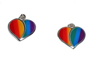 Split Heart Earrings w/Rainbow Stone