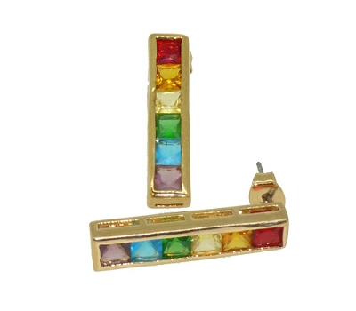 Rainbow Stones Gold Earrings