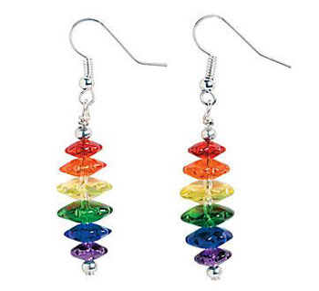 Rainbow Glass Dangle Earrings