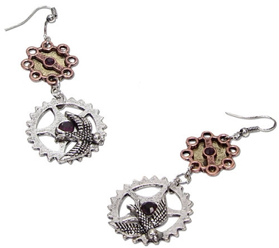 Gear Earrings with Sparrow