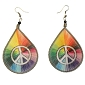 Rainbow Threaded Earrings with Peace Sign