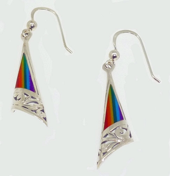 Fan Earrings w/Rainbow Stone