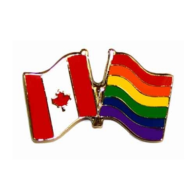Canadian Flag / Rainbow Flag Lapel Pin