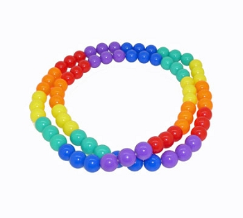 Rainbow Bead Necklace (or wrap Bracelet)