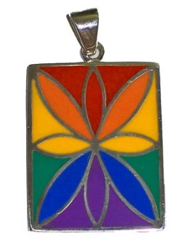 Silver Fleur w/Rainbow Stones Pendant