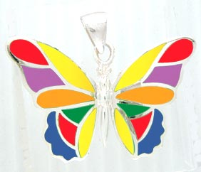 Silver Butterfly w/Rainbow Stones Pendant
