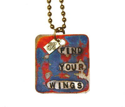 Find Your Wings Metal ID Tag / Necklace