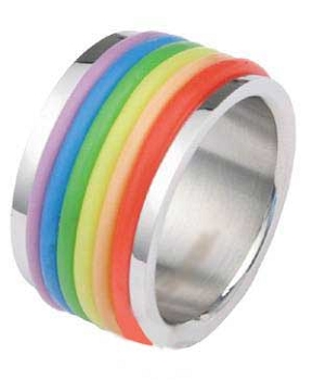 Rainbow Rubber Rings Pride Ring