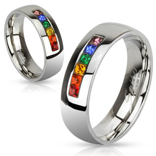 Stainless Steel String of Rainbow Color Gems Ring