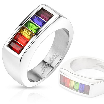 Princess Cut Rainbow Stones Band Ring