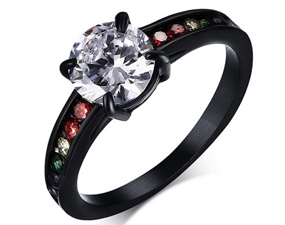 Rainbow Stones Black Stainless Steel Ring