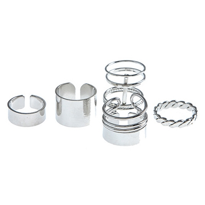 Polished Caged (5) Rings Set