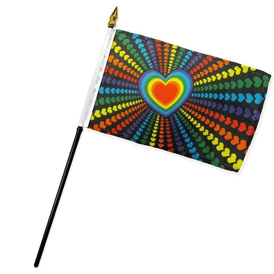 Love Hearts (Rainbow) Flag on Stick