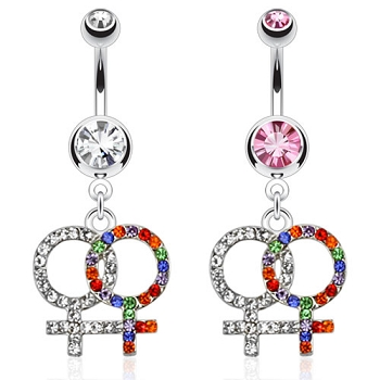 Double Female Sign Navel Ring