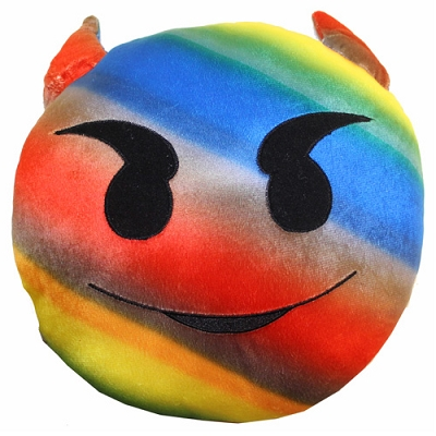 Plush Pillow Rainbow Horny/Devil Emoji Pillow