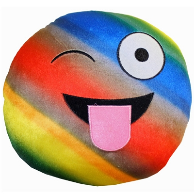 Plush Pillow Rainbow Wink with Tongue Out Emoji Pillow