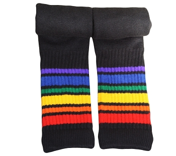 Rainbow Pride (22 inch) Black Tube Socks