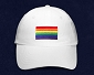 Rainbow Flag Embroidered White Cap / Hat