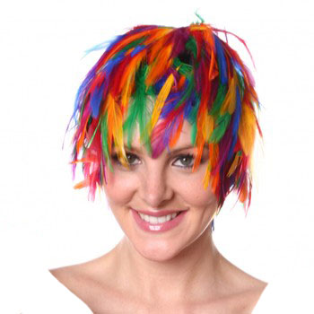 Rainbow Feather Wig / Cap