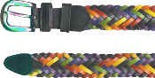 Rainbow Braided Leather Belt