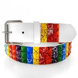 Rainbow Splatter Studs Leather Belt
