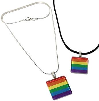 Rainbow Glass Pendant Necklace