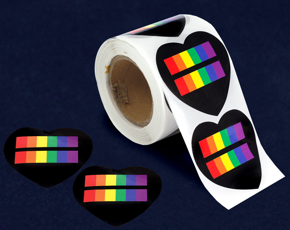 Rainbow Equality Heart Stickers (250 stickers)